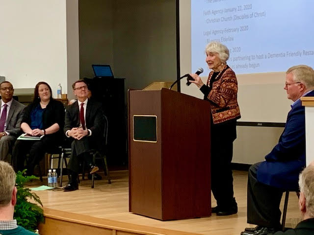 Best Friends Approach co-founderVirginia Bell speaks at the Dementia-Friendly Lexington kickoff event in January 2020.